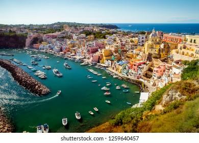 Panorama of Corricella village on Procida island, Campania, Italy
