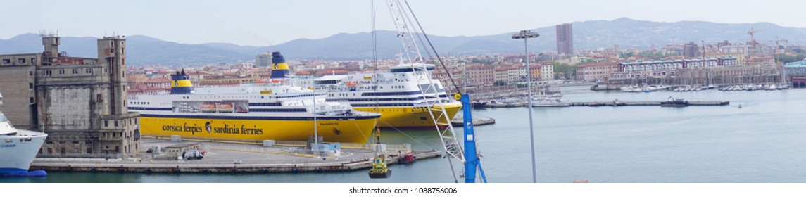 Panorama of Corsica Sardinia ferries anchored in Livorno, Italy