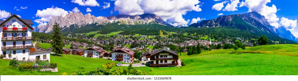 Panorama of Cortina d'Ampezzo- breathtaking mountain village and popular tourist destination in Dolomites Alps, northen Italy