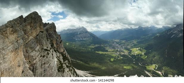Panorama of Cortina d'Ampezzo in Italian Dolomites