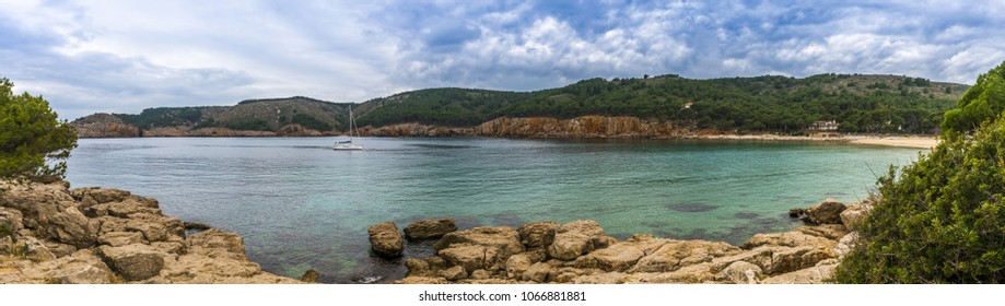 panorama of Costa Brava in l'Escala in Catalonia, Spain