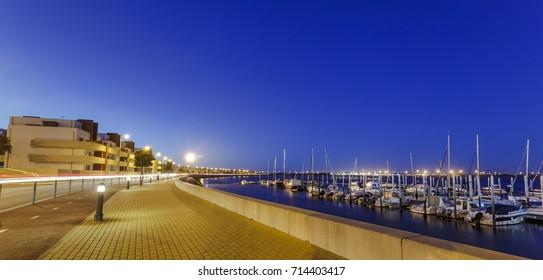 Panorama of Costa Nova do Prado harbor in Portugal