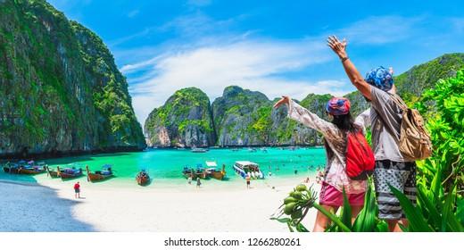Panorama couple travelers joy beautiful nature scenic landscape Maya bay Krabi, Famous landmark travel Phuket Thailand beach, Tourist people on summer holidays vacation, Tourism destination Asia trips