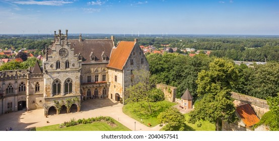 Panorama of the courtyard aerial view of the castle in Bad Bentheim, Germany