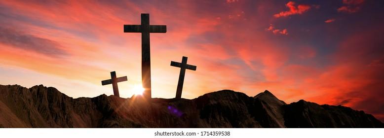 Panorama Crucifixion Of Jesus Christ - Cross At Sunset