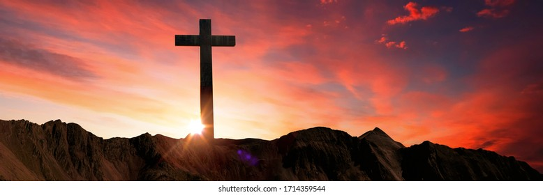 Panorama Crucifixion Of Jesus Christ - Cross At Sunset