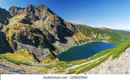 Panorama of Czarny Staw Gasienicowy and Maly Koscielec Peak surrounding from route to Skrajny Granat Peak, high Tatra mountains