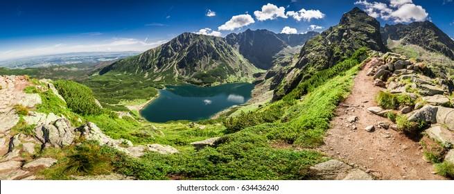Panorama of Czarny Staw Gasienicowy in Tatra Mountains, Poland, Europe - Shutterstock ID 634436240