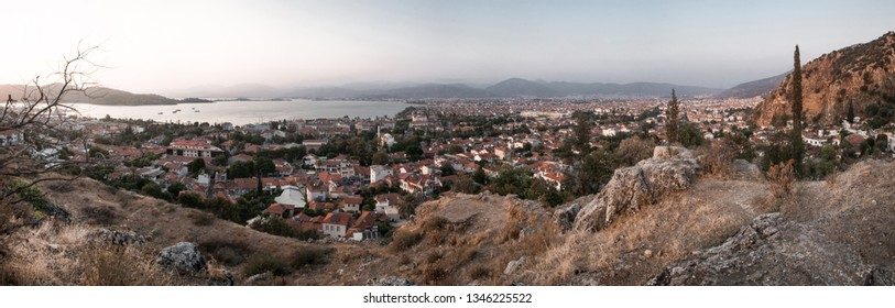 Panorama of a Dalaman city with mountains in the foreground