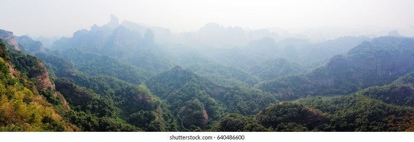 Panorama of Danxiashan Geopark in Guangdong Province, China.
