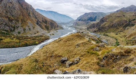 The panorama of Darial gorge, Kazbegi district, Mtskheta-Mtianeti region, Georgia. The Darial gorge is a river Terek gorge on the border between Russia and Georgia.