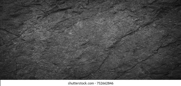 Panorama dark grey black slate background or texture.Black slate background