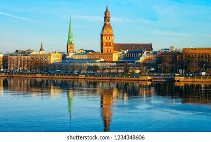Panorama of Daugava River and Old town with Dome Cathedral in Riga in Latvia.