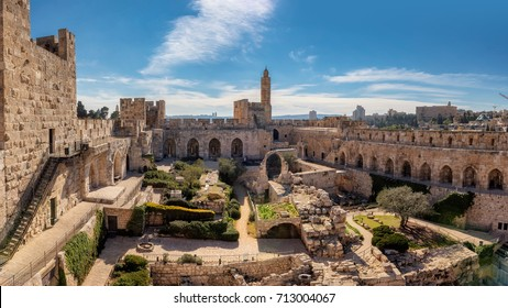 Panorama of David's tower in old city of Jerusalem with view of the new Jerusalem in the distance. Israel.