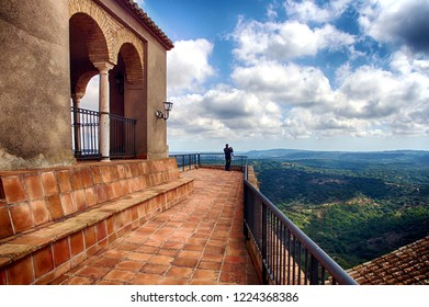 Panorama from de top of the main tower of the fortress of Castellar de la Frontera in Cadiz, Spain.