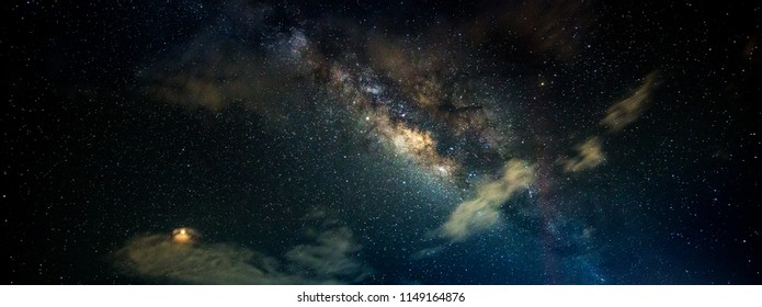 Panorama Deep blue night sky with stars and milky way.Universe filled with stars, nebula and galaxy with noise and grain.Photo by long exposure and select white balance.