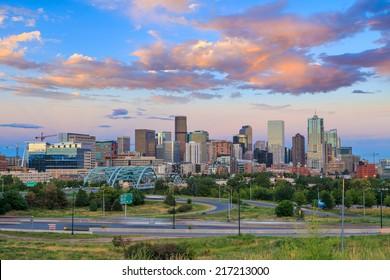 Panorama of Denver skyline long exposure at twilight.
