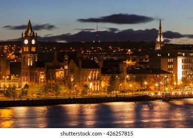 Panorama of Derry. Derry, Northern Ireland, United Kingdom.