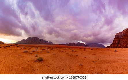Panorama of the desert before the rain. Wadi rum. Jordan.