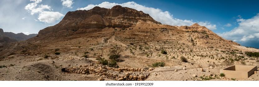 Panorama of Desert Cliffs at Ein Gedi, Judea Desert, Israel