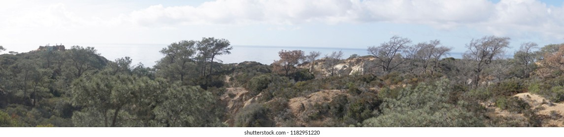Panorama of desert landscape hills at Torrey Pines State Preserve near San Diego, California