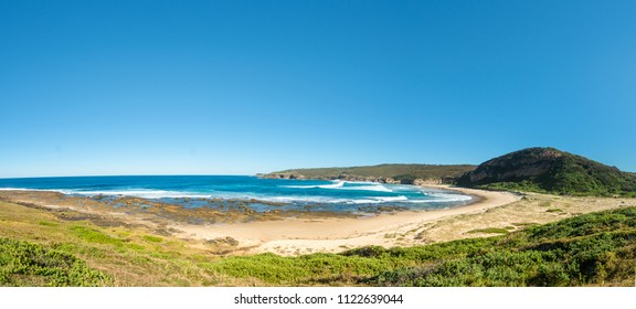 Panorama of a deserted beach, Catherine Hill Bay on the New South Wales Central Coast, Australia.