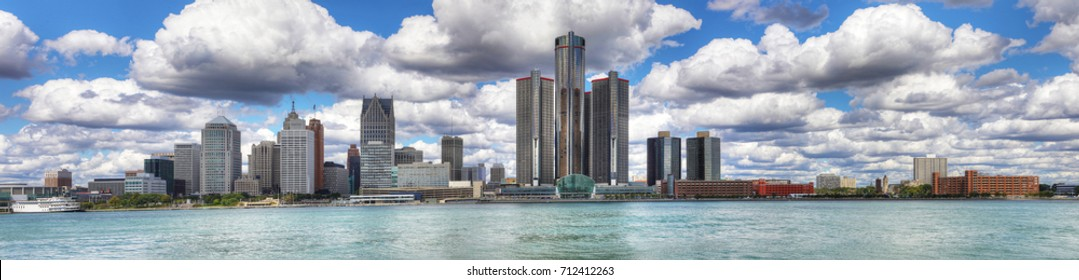 A Panorama of the Detroit Skyline