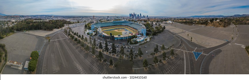 Panorama of Dodgers Stadium with Downtown Los Angeles