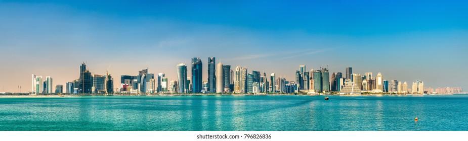 Panorama of Doha, the capital of Qatar.