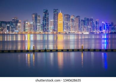 Panorama of Doha at dawn. Doha, Ad-Dawhah, Qatar.