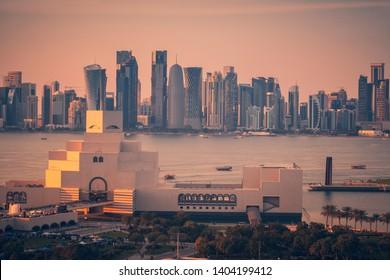 Panorama of Doha at sunset. Doha, Qatar.