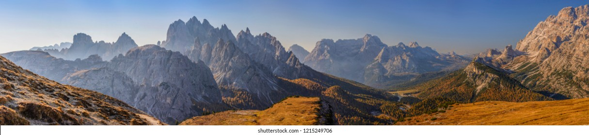 Panorama of Dolomiti, Tre Cime di Lavaredo - Drei Zinnen - The most beautiful attraction of Dolomiti - Alps - Italy