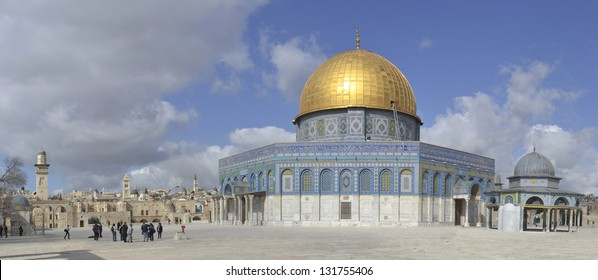 Panorama Dome of the Rock on Temple Mount, Jerusalem, Israel
