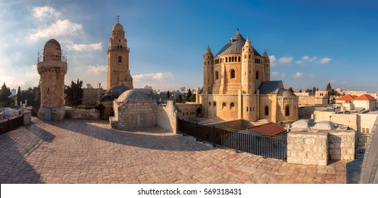 Panorama of Dormition Abbey at sunset, near Zion Gate, Jerusalem Old City. Israel.