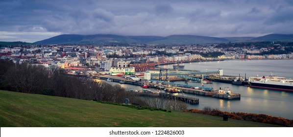 Panorama of Douglas on the Isle of Man at dawn. Douglas, Isle of Man.