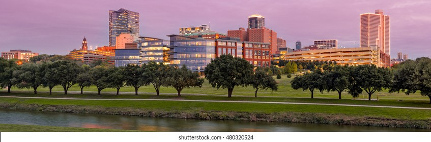 Panorama of Downtown Fort Worth and Trinity River at Twilight - DFW North Texas