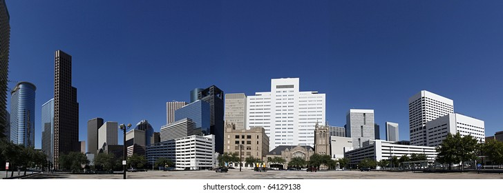 Panorama in Downtown Houston seen from Bell Street