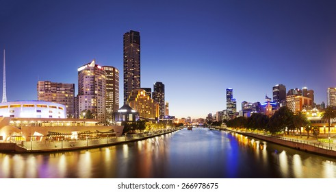 Panorama of downtown Melbourne at night, produced by stitching several images together