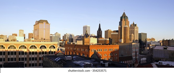 Panorama of downtown Milwaukee - seen during sunset