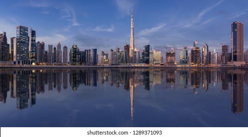 Panorama of Dubai Business Bay with the Burj Khalifa in the middle
