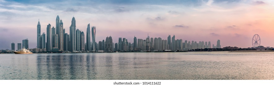 Panorama of the Dubai Marina during sunset