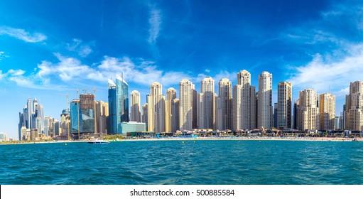 Panorama of Dubai Marina in a summer day, UAE