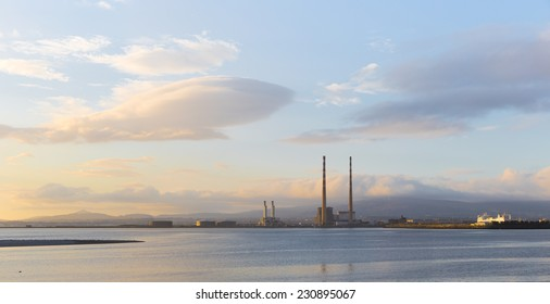 Panorama of Dublin Bay with Poolbeg station and a ferry