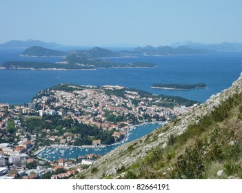 Panorama of Dubrovnik and the islands Kolosep, Lopud, Sipan en Mljet