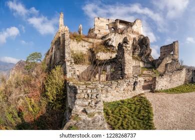 Panorama of Duernstein castle during autumn in Wachau, Austria