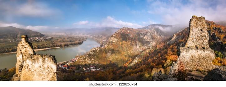 Panorama of Duernstein village with castle during autumn in Wachau, Austria