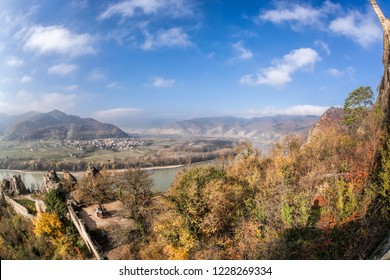 Panorama of Duernstein village with castle during autumn in Wachau Austria