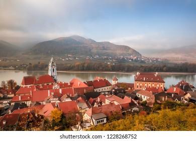 Panorama of Duernstein village during autumn in Wachau, Austria