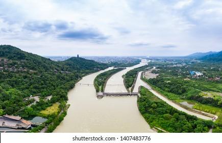 Panorama of the Dujiang Dam , an ancient irrigation system in Dujiangyan City, Sichuan, China