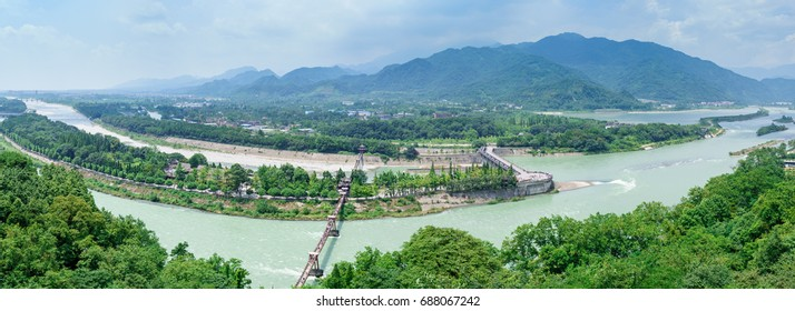 Panorama of Dujiangyan ,  an ancient irrigation system in Dujiangyan City, Sichuan, China.